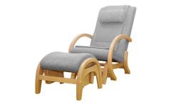 Массажное кресло-качалка EGO TWIST EG-2004 SHIMO Серый (Рогожка) с пуфом